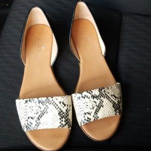 J. Crew Shoes - J. CREW Snake Embossed D'Orsay Flats 9
